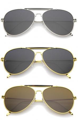 Classic Metal Double Nose Bridge Slim Temple Super Flat Lens Aviator Sunglasses 57mm