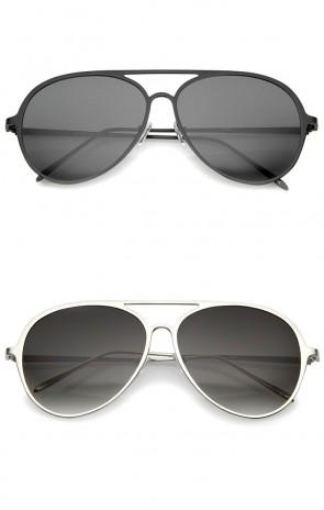 Oversize Metal Frame Double Nose Bridge Slim Temple Aviator Sunglasses 58mm
