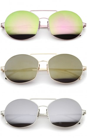 Modern Thin Metal Frame Brow Bar Colored Mirror Lens Round Sunglasses 59mm