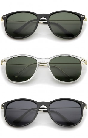 Casual Horn Rimmed Basic Shape Ultra Slim Metal Temples Square Sunglasses 57mm
