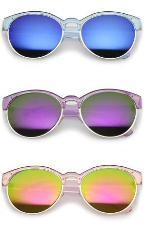 Double Nose Bridge Metal Trim Mirror Lens Round Cat Eye Sunglasses 55mm