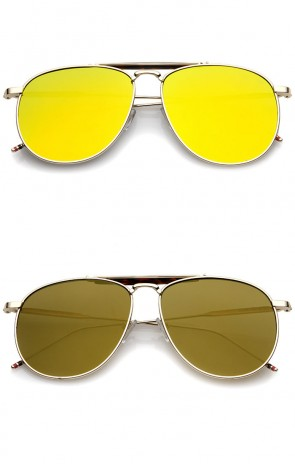 Oversize Metal Double Nose Bridge Slim Temple Colored Mirror Super Flat Lens Aviator Sunglasses 57mm
