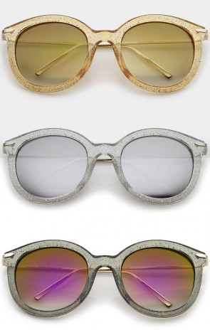 Women's Transparent Glitter Frame Ultra Slim Metal Temple Round Sunglasses 56mm