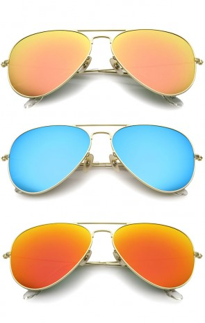 Premium Classic Large Matte Metal Frame Mirror Glass Lens Aviator Sunglasses 61mm