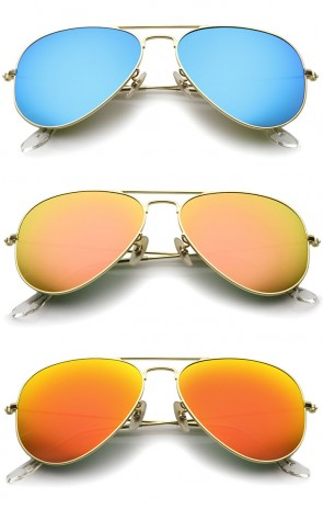 Premium Classic Small Matte Metal Frame Mirror Glass Lens Aviator Sunglasses 57mm