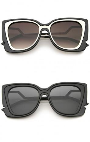Oversize Notched Frame Zigzag Temple Flat Lens Cat Eye Sunglasses 51mm