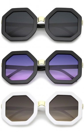 Retro Metal Nose Bridge Octagon Shape Oversize Sunglasses 53mm