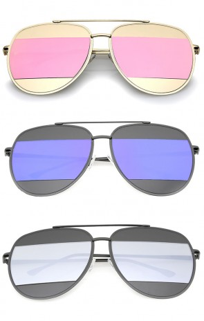 Two-Toned Metal Thin Temple Brow Bar Colored Mirror Split Lens Aviator Sunglasses 57mm
