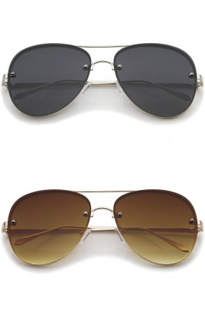 Modern Slim Metal Frame Brow Bar Flat Lens Aviator Sunglasses 60mm