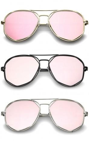 Geometric Hexagonal Metal Frame Colored Mirror Flat Lens Aviator Sunglasses 60mm
