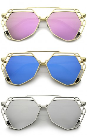Modern Geometric Metal Frame Colored Mirror Flat Lens Hexagonal Sunglasses 56mm