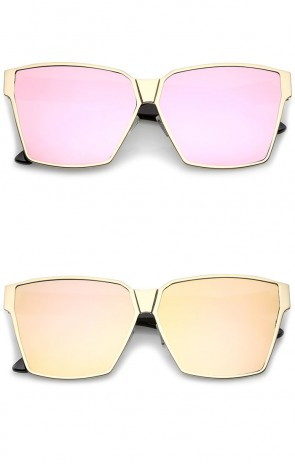 Oversize Matte Metal Accent Horn Rimmed Colored Mirror Flat Lens Square Sunglasses 63mm