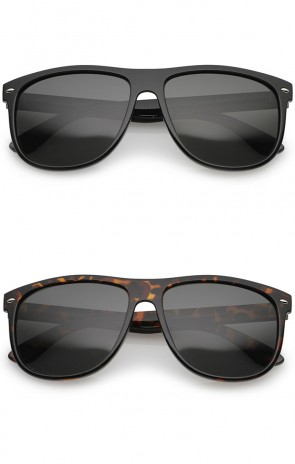 Classic High Sitting Temples Square Polarized Lens Horn Rimmed Sunglasses 58mm