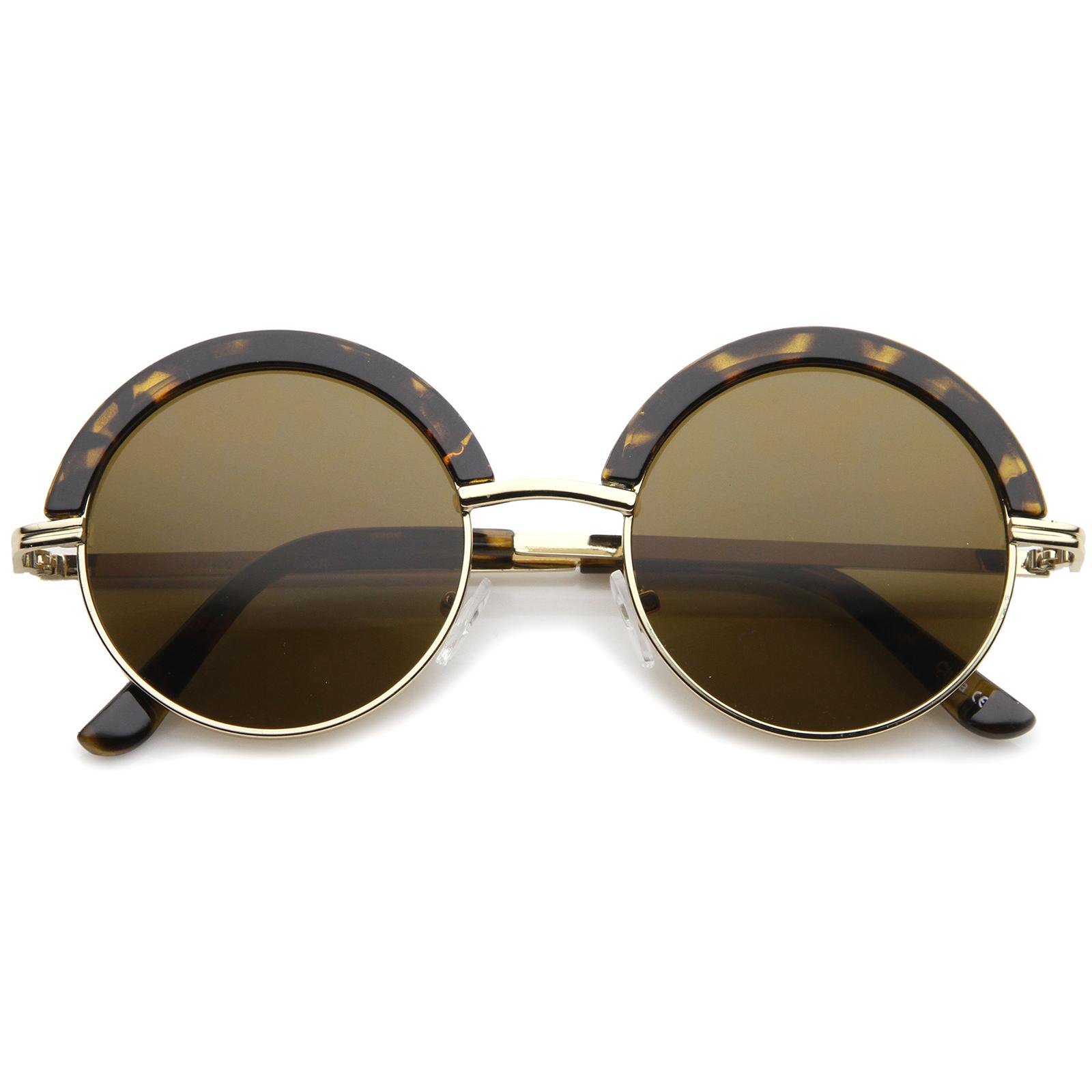 Half Frame Round Eyeglasses : sunglassLA Mod Fashion Oversize Half-Frame Brow Eyelid ...