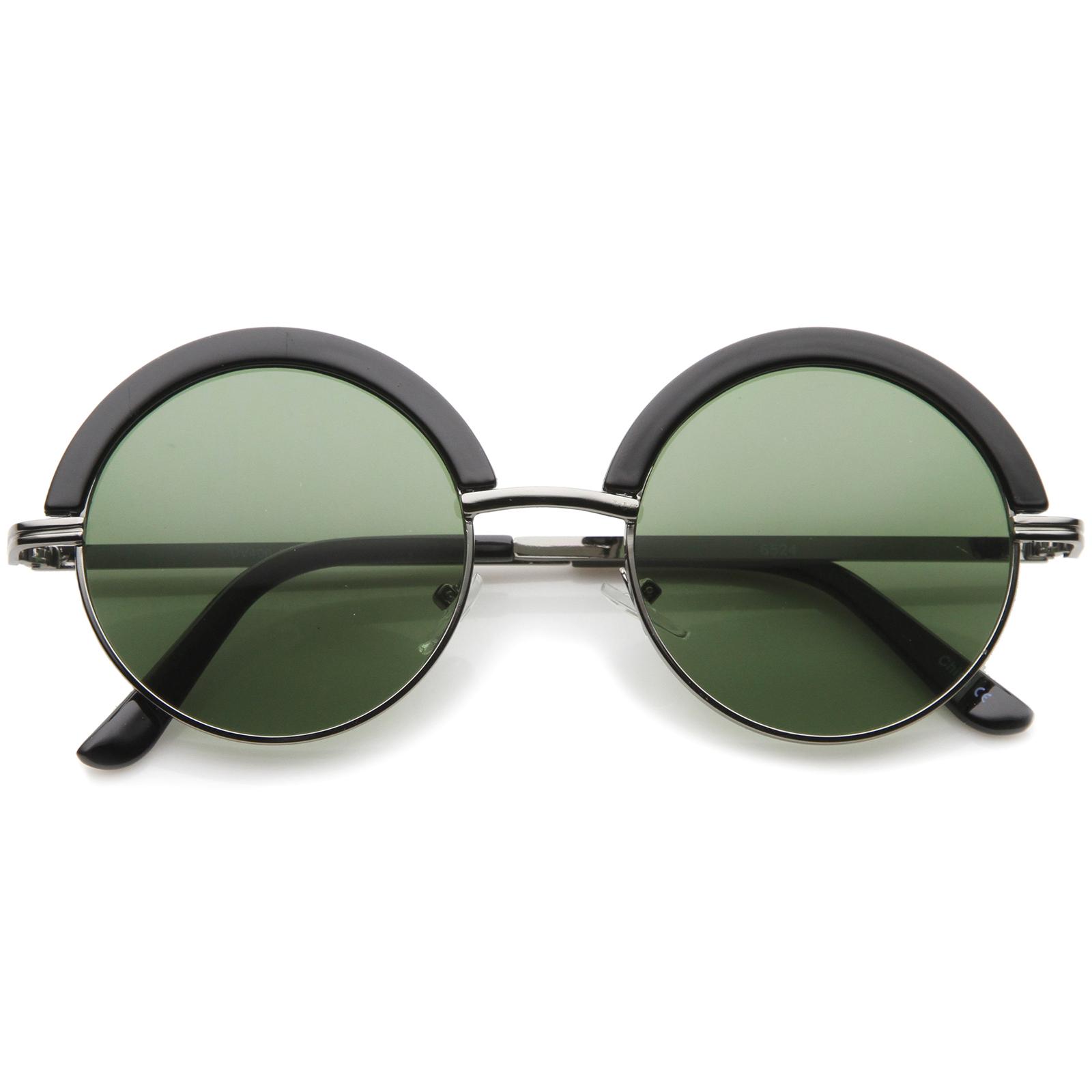sunglassLA Mod Fashion Oversize Half-Frame Brow Eyelid ...