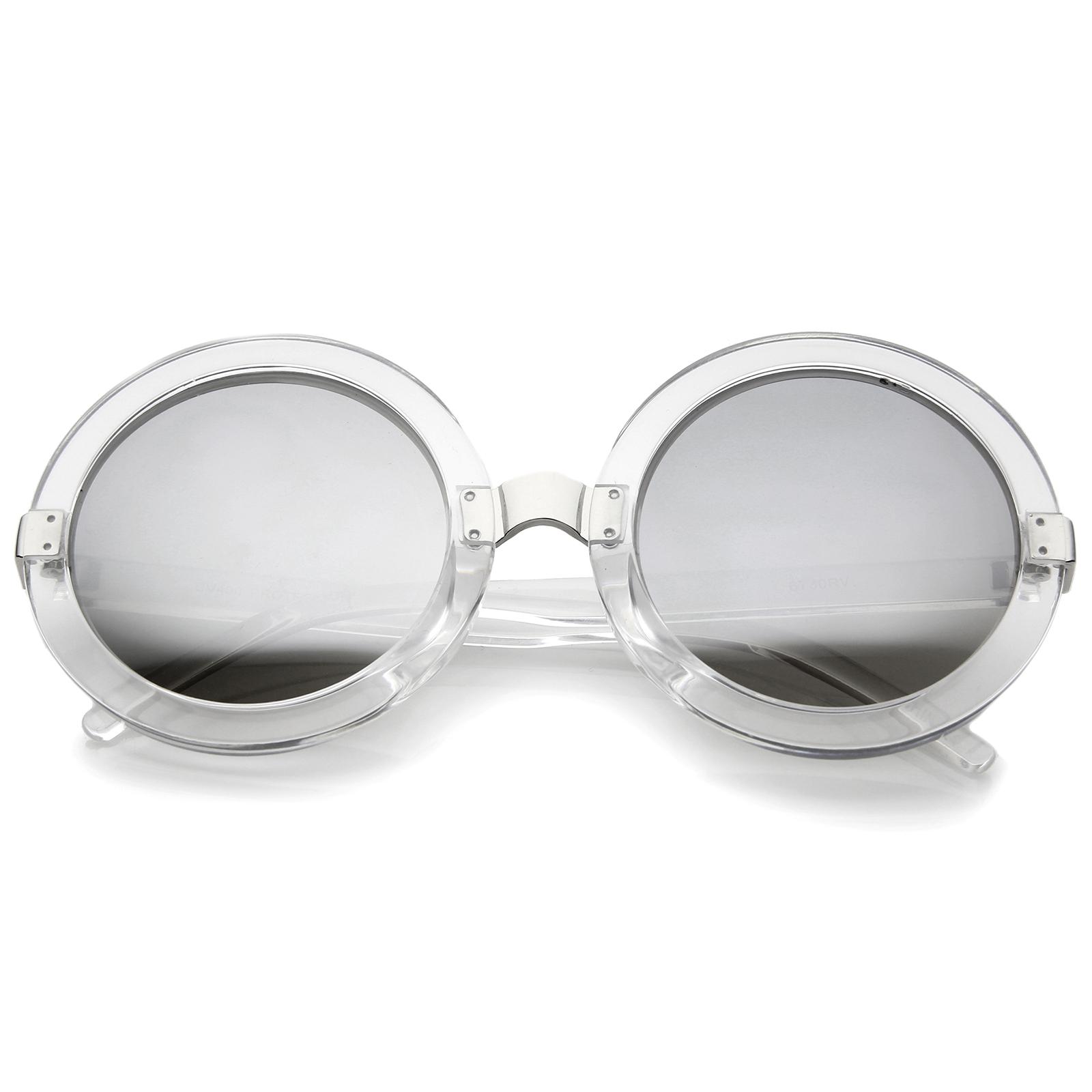 Oversized Round Sunglasses  sunglassla womens retro bold colored mirror oversized round