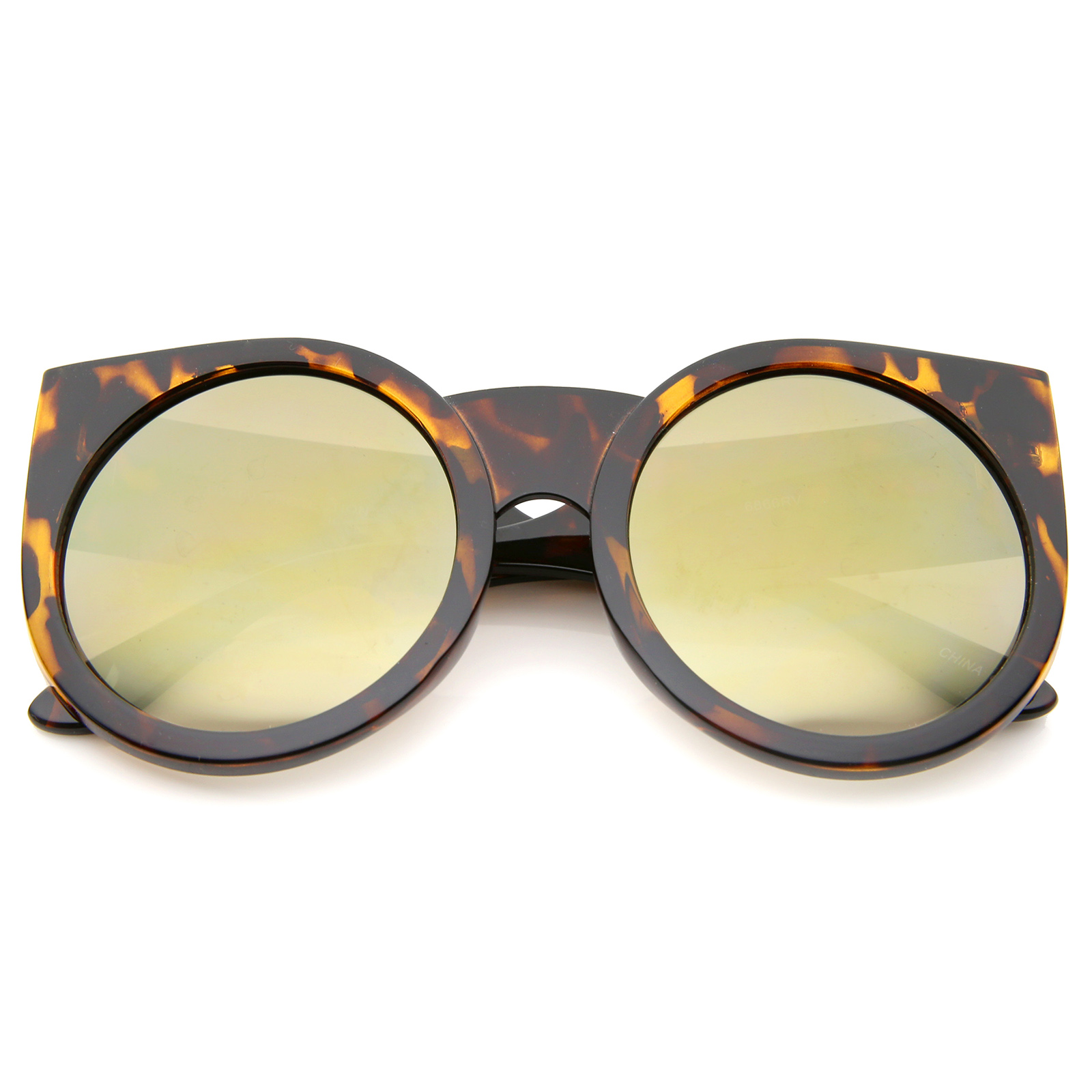 sunglass.LA Womens Thick Frame Color Mirror Lens Round Cat ...