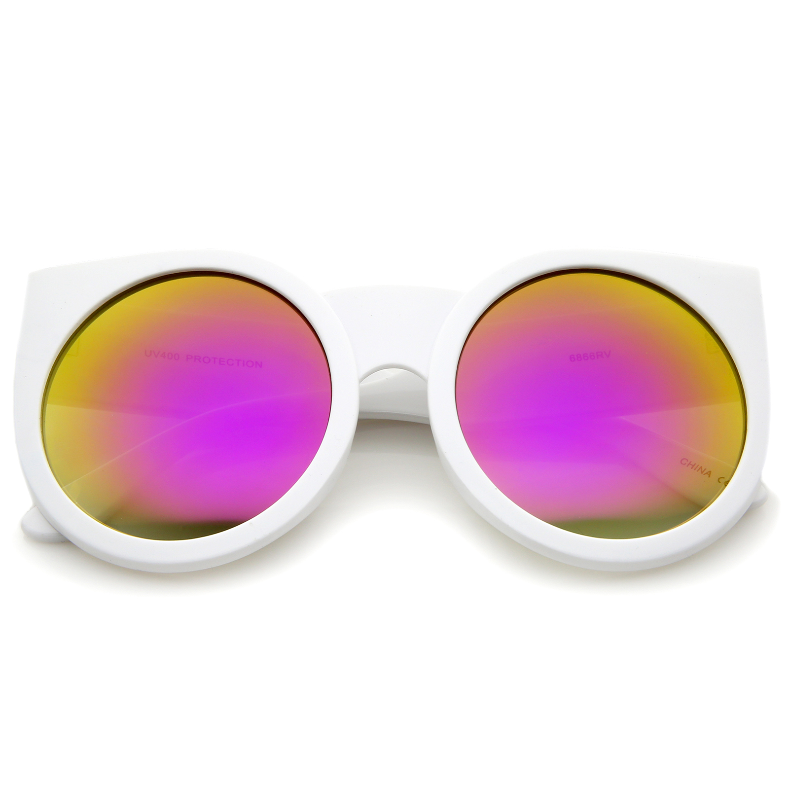 Sunglasses Frames For Thick Lenses : sunglass.LA Womens Thick Frame Color Mirror Lens Round Cat ...