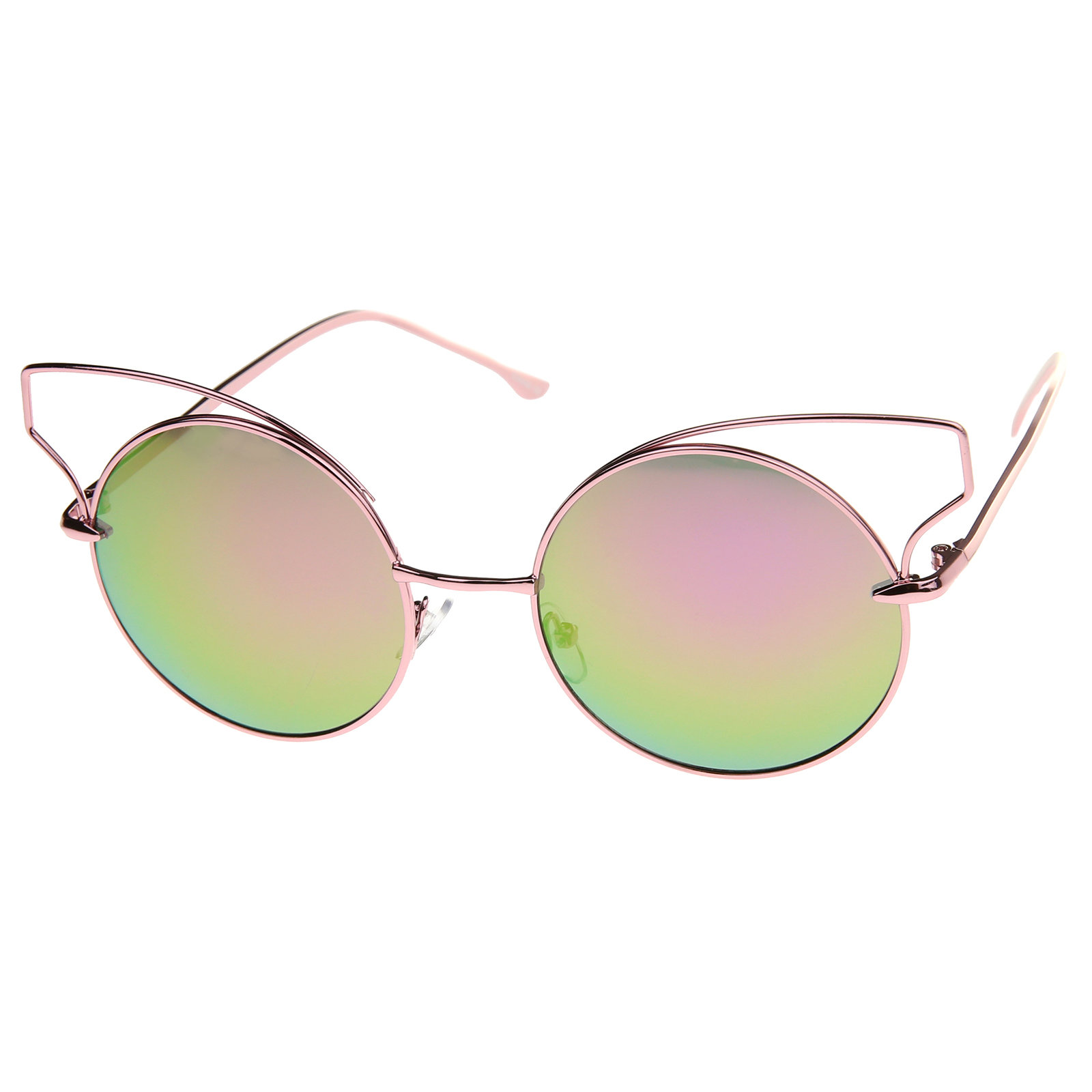 Wire Frame Cat Eye Glasses : sunglass.LA Wire Open Metal Frame Color Mirror Lens Round ...