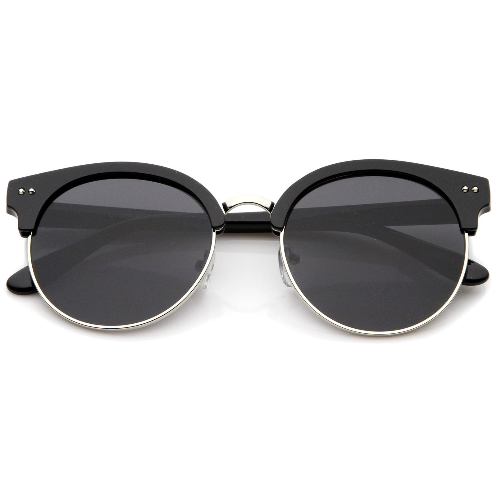 Half Frame Round Eyeglasses : sunglassLA Womens Oversize Half Frame Color Mirror Flat ...