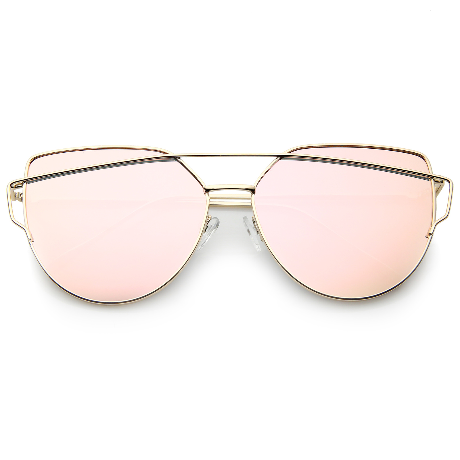 sunglassLA Oversized Metal Thin Temple Color Mirror Flat Lens Aviator Sunglasses
