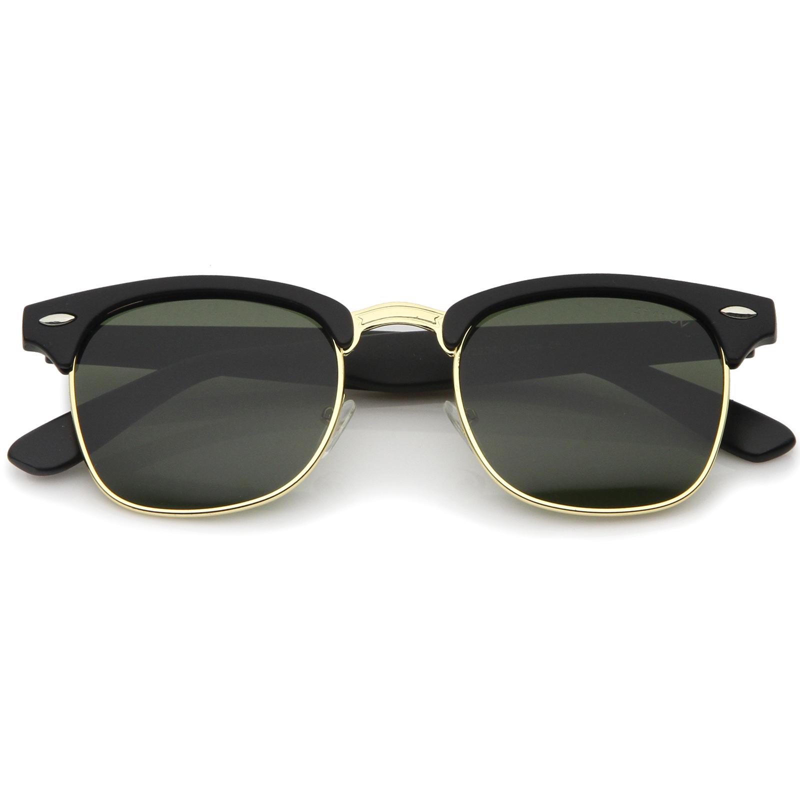 Half Frame Horn Rimmed Glasses : zeroUV Premium Half Frame Horn Rimmed Metal Rivets ...