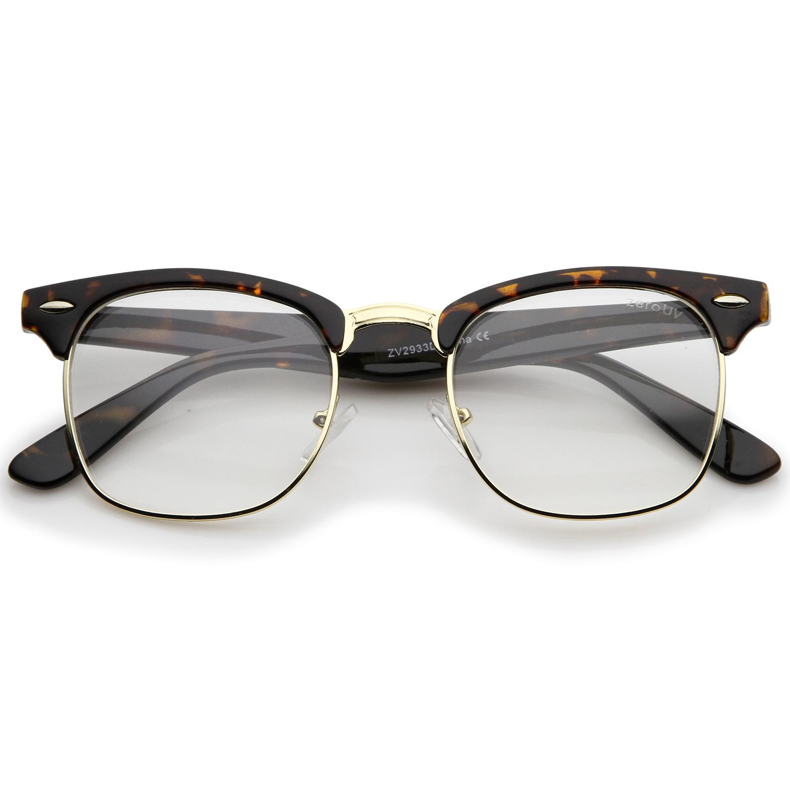 Half Frame Square Glasses : zeroUV Retro Square Clear Lens Horn Rimmed Half-Frame ...