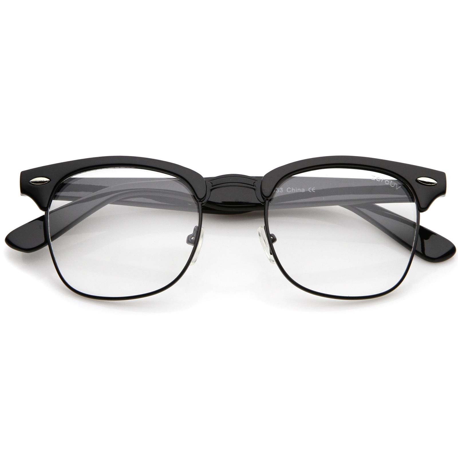 Half Frame Horn Rimmed Glasses : zeroUV Retro Square Clear Lens Horn Rimmed Half-Frame ...
