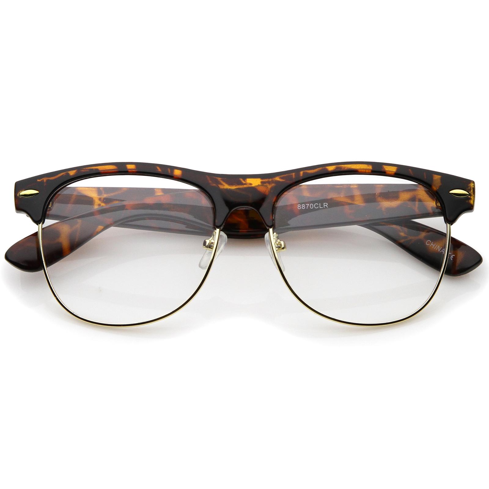 Half Frame Horn Rimmed Glasses : sunglassLA Classic Horn Rimmed Clear Lens Half Frame ...