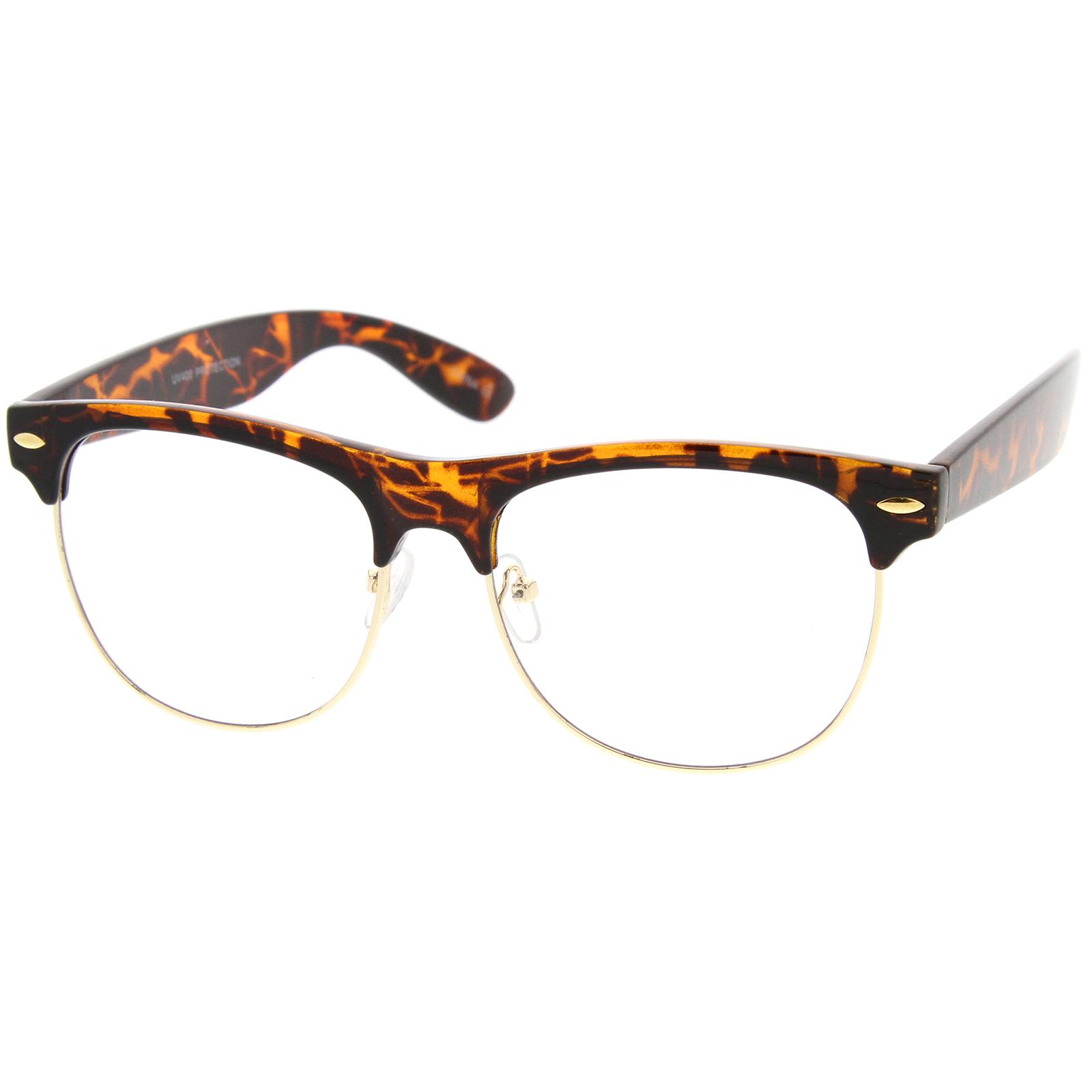 Half Frame Horn Rimmed Glasses : sunglassLA Classic Horn Rimmed Clear Lens Half Frame Glasses