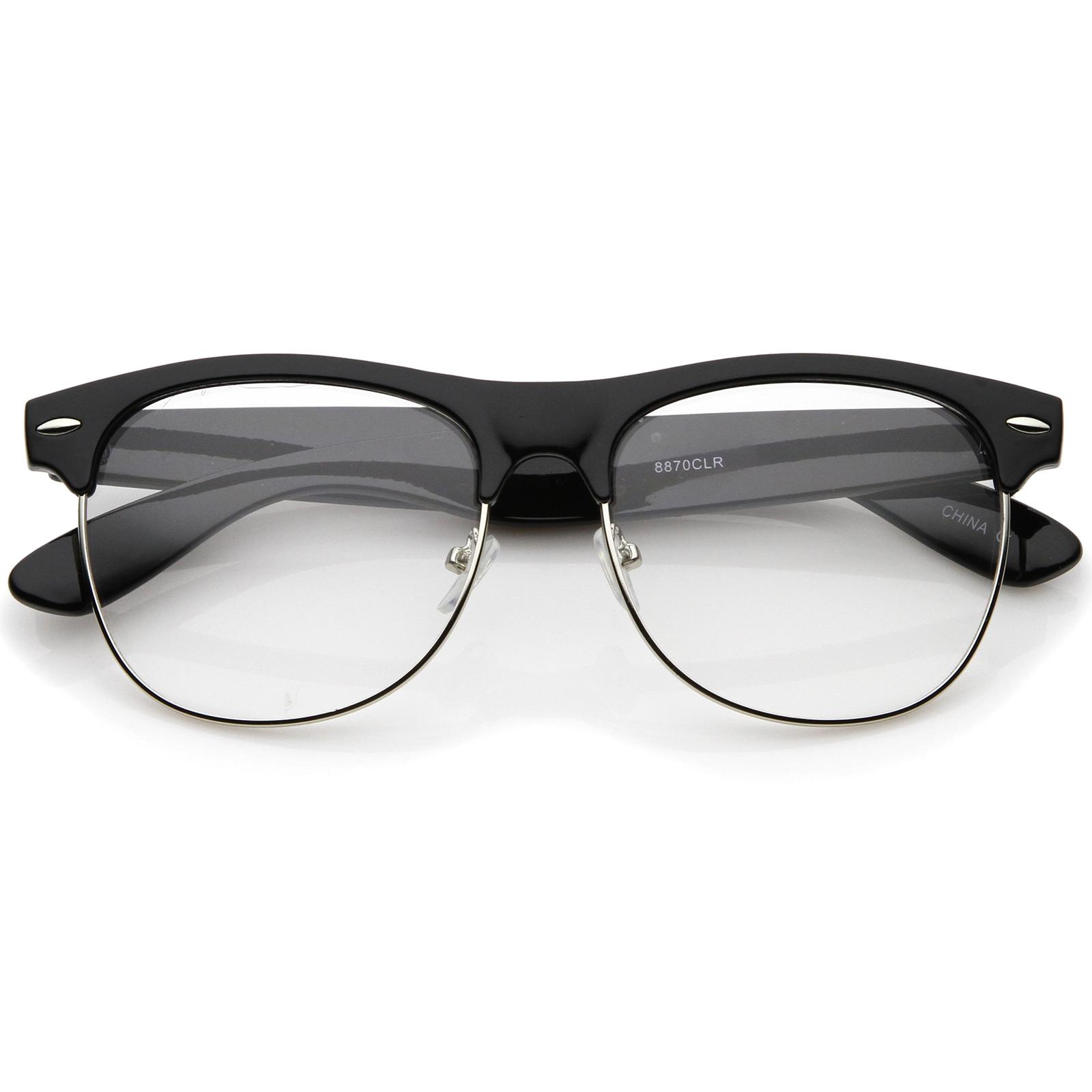 Half Frame Glasses Boots : sunglassLA Classic Horn Rimmed Clear Lens Half Frame ...