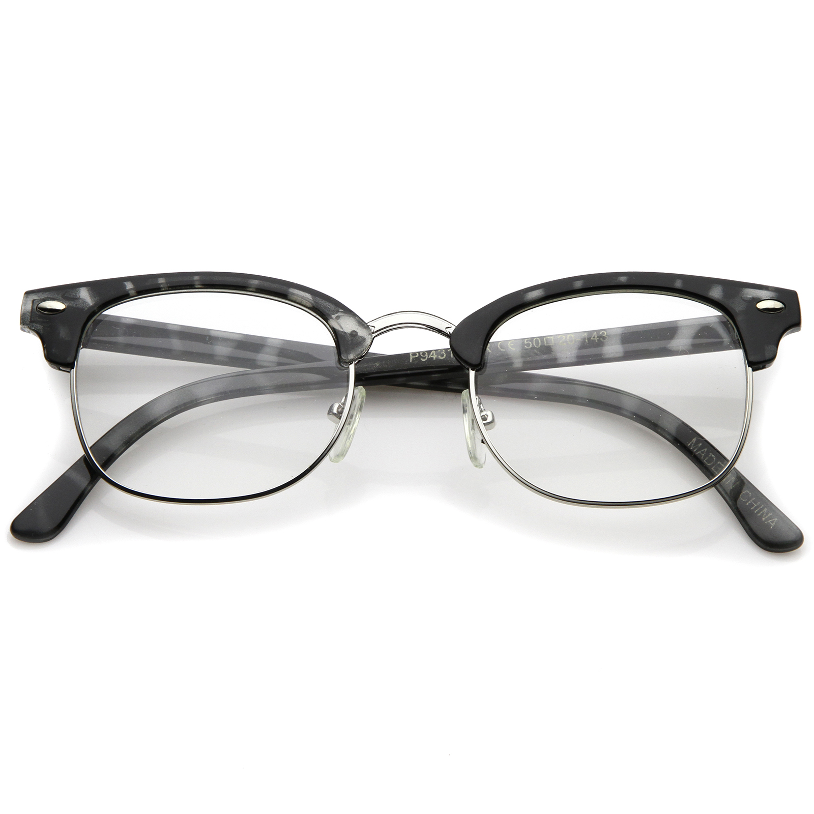 retro horn rimmed metal nose bridge clear lens half frame
