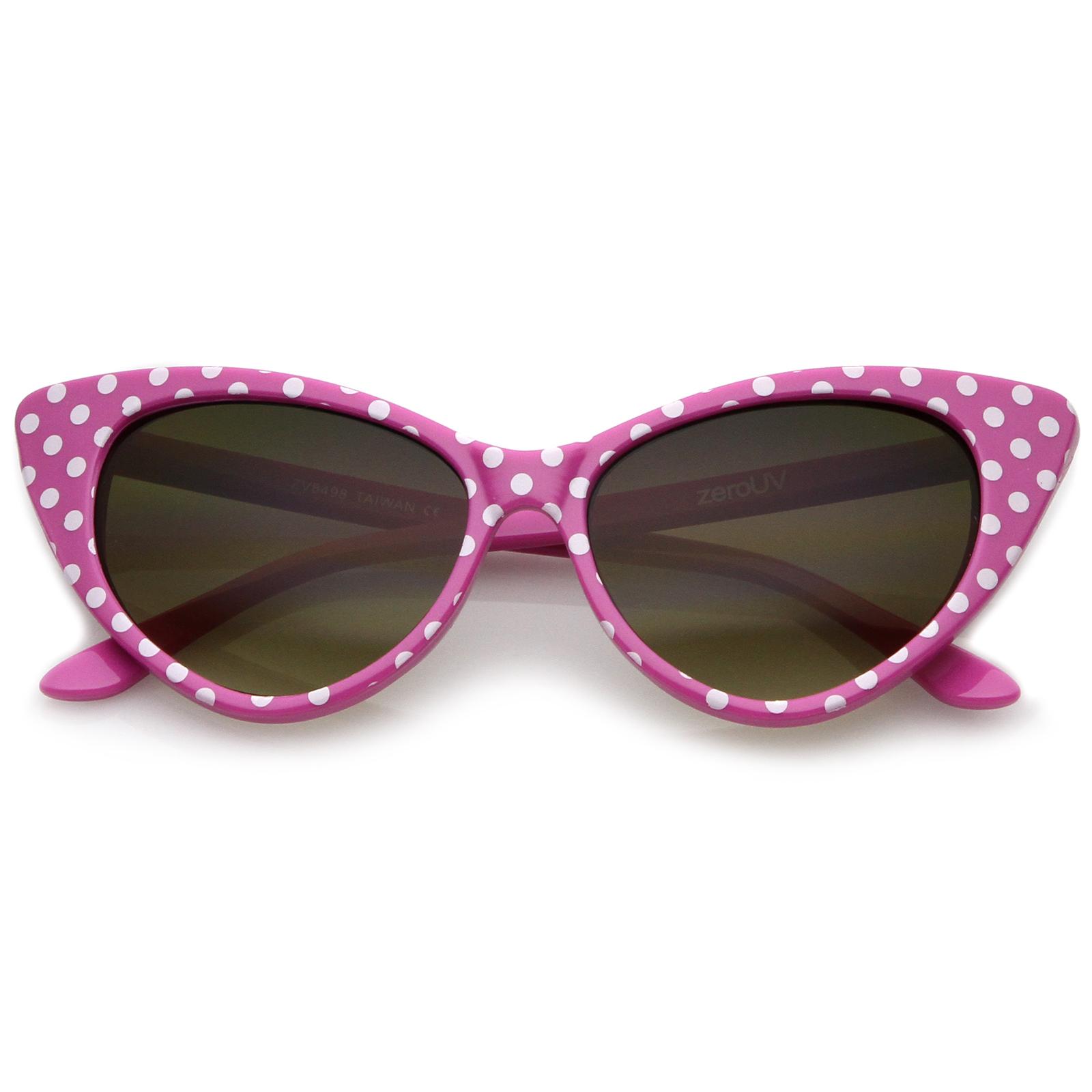SunglassLA Women's Retro Polka Dot Oversize Cat Eye