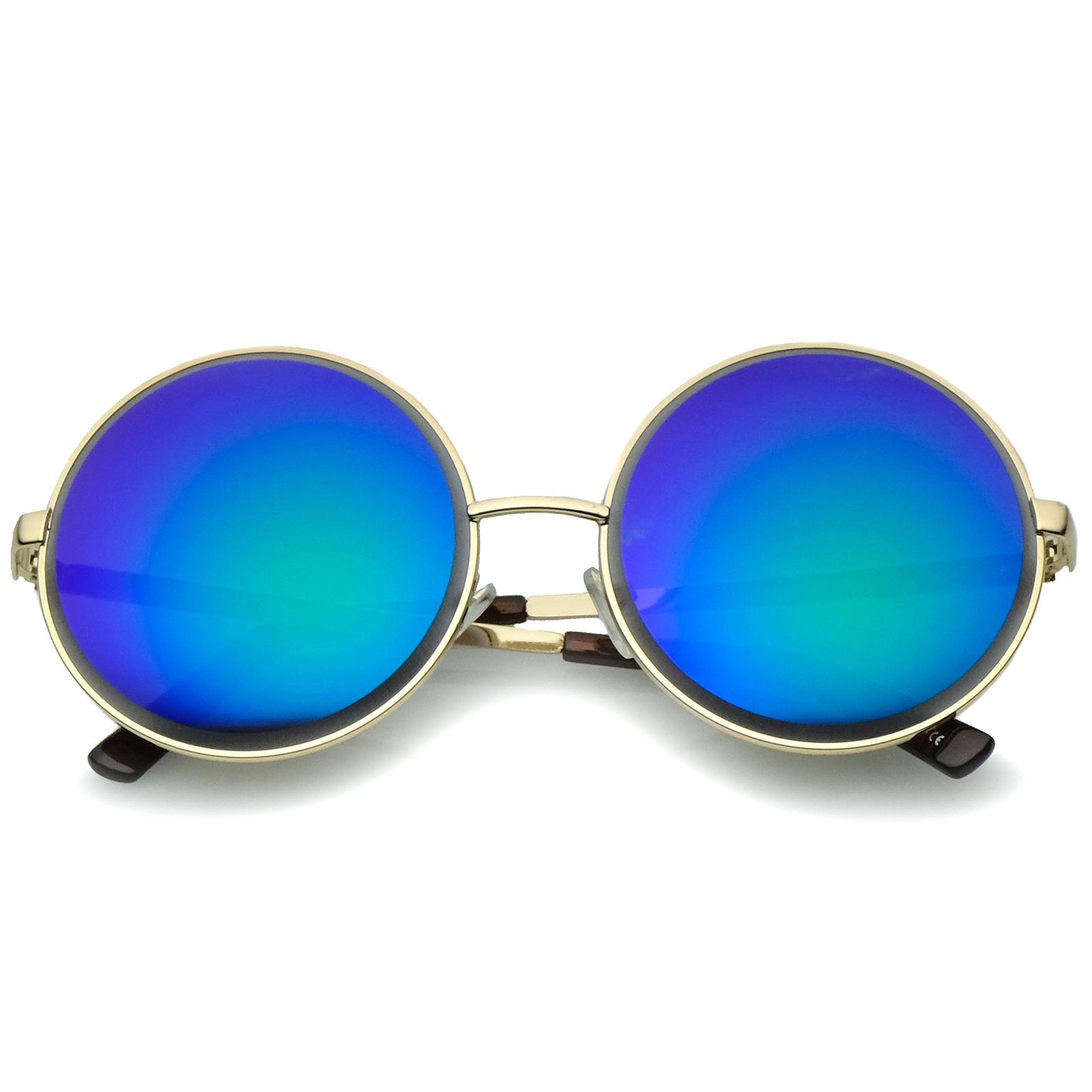 sunglassLA-Oversize-Metal-Frame-Etched-Edge-Colored-Mirror-Lens-Round-Sunglasses