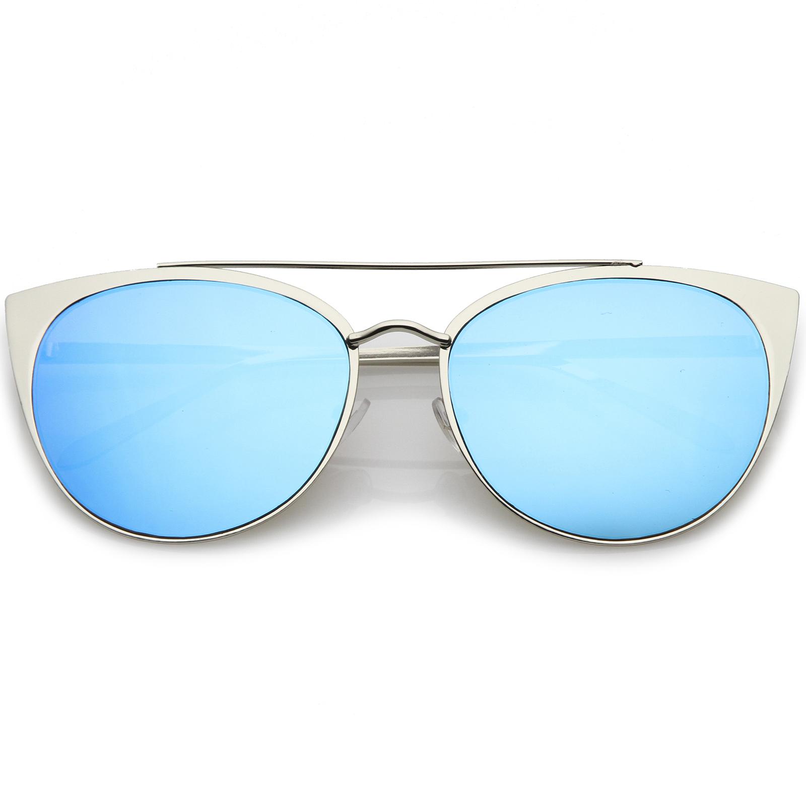 Metal Cat Eye Sunglasses  sunglassla women 039 s oversize metal crossbar mirrored flat lens
