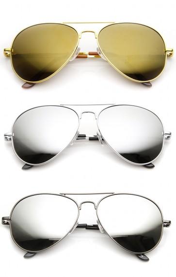 FULL MIRROR Mirrored Metal Aviator Sunglasses