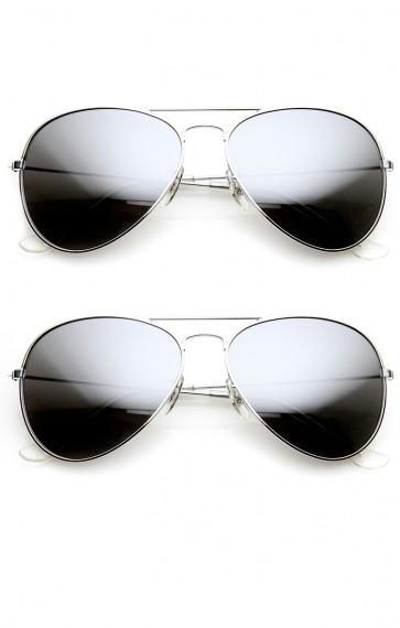 Mirrored Aviators Silver Metal Aviator Sunglasses
