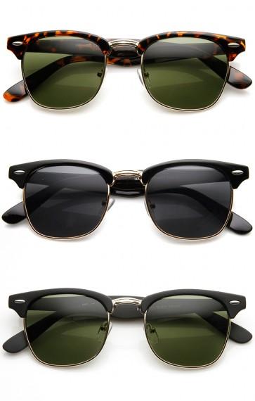 Designer Inspired Classic Half Frame Horned Rim Horn Rimmed Sunglasses