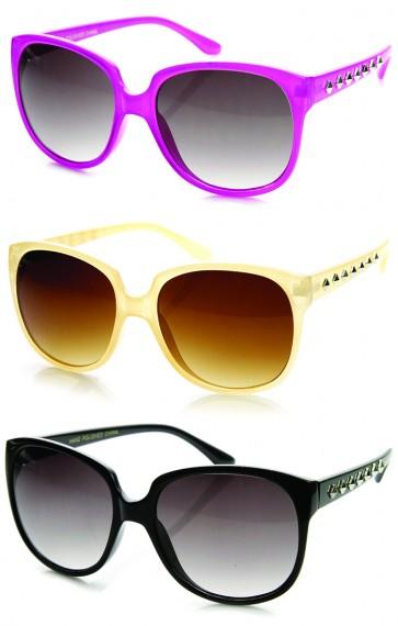 Fashion Studded Temple Round Square Frame Sunglasses