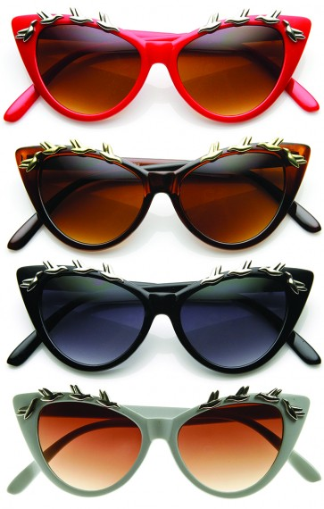 Womens Fashion Metal Bird Adorned Super Cateye Sunglasses