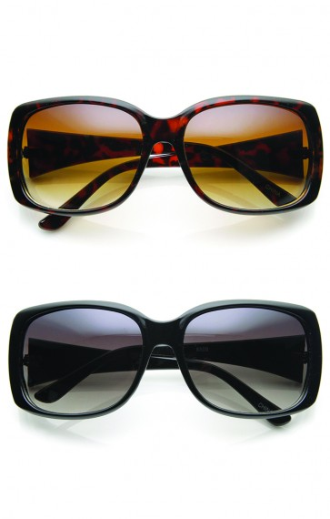 Womens Fashion Mid Sized Square Frame Sunglasses