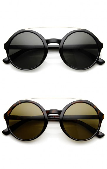 Retro Fashion Metal Crossbar Large Circle Round Sunglasses