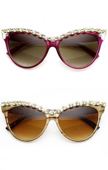 Womens Fashion Large Rhinestone Oversized Cateye Sunglasses