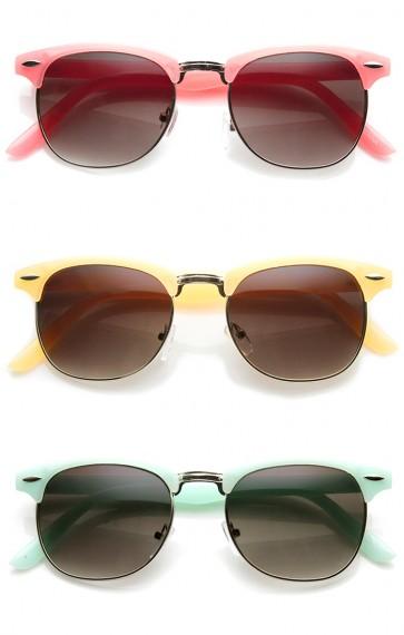 9c578137a9 Pastel Color Semi-Rimless Half Frame Horn Rimmed Sunglasses