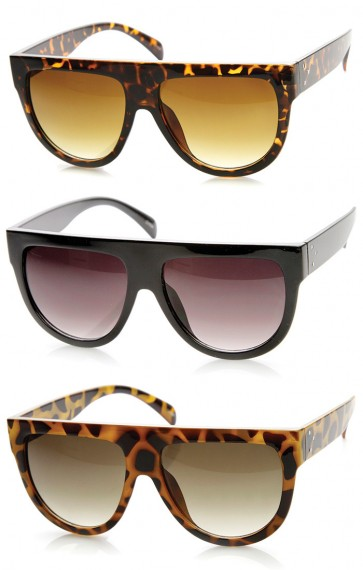 Large Oversized Flat Top Teardrop Frame Aviator Sunglasses