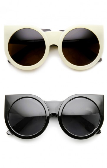 Womens Oversized Super Bold Round Cat Eye Sunglasses