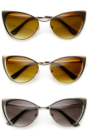 Womens Fashion Full Metal Metallic Cat Eye Sunglasses