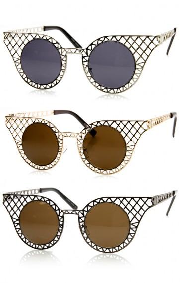 High Fashion Metal Criss Cross Cut Out Cat Eye Sunglasses
