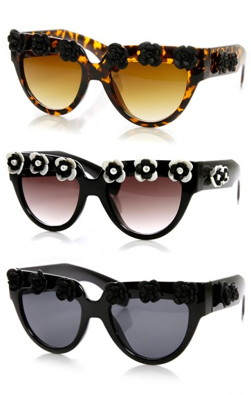 High Fashion Flower Adorned Bold Floral Cat Eye Sunglasses