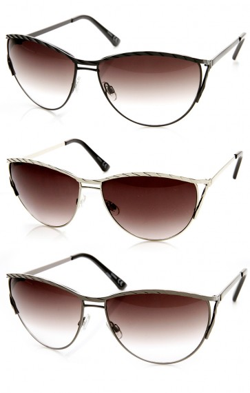 Womens Oversize Embellished Metal Cat Eye Sunglasses